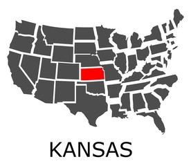 Bordering map of USA with State of Kansas marked with red color.