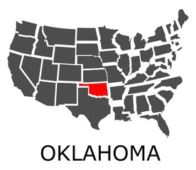 Bordering map of USA with State of Oklahoma marked with red color.