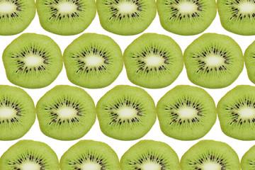 Pattern of kiwi Fruits on White Background