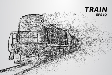 The train consists of dots and circles. Train the wind blows away particles. Vector illustration.