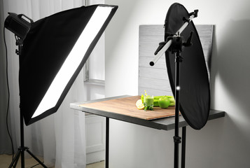 Professional photo equipment and composition with smoothie in studio. Concept of food photography
