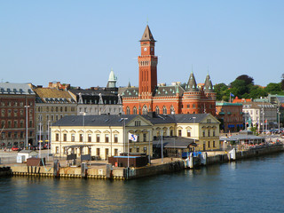 Stunning Helsingborg City Hall( Radhuset ) and Helsingborg Harbour View from the Ferry, Helsingborg, Sweden
