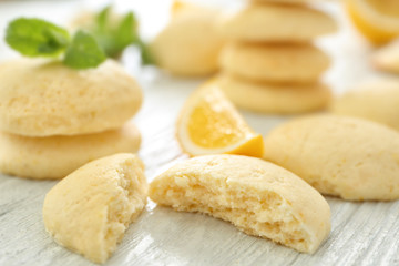 Fototapete - Homemade cookies with lemon flavor on wooden table