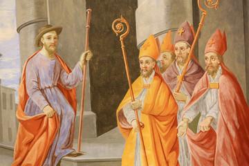Saint-Nicolas est choisi pour être évêque de Myre. Eglise Saint-Nicolas de Véroce. / Saint Nicholas is chosen to be bishop of Myre. Church of St. Nicholas of Veroce. Wall mural