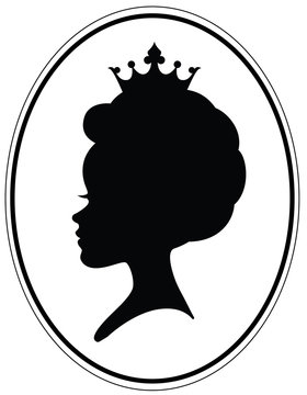 Girls head with classic afro alike haircut and crown.
