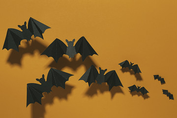 Halloween bats flying.
