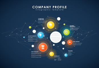 Company profile overview template with colorful circles, dots on dark background.