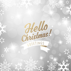 Christmas silver background with snowflakes and Hello Christmas text - square version