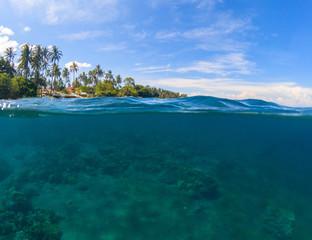 Double landscape. Blue sea and sky. Seascape split photo. Double seaview.