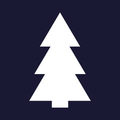 Vector image of Christmas tree, fir-tree.Vector white icon on dark blue background.