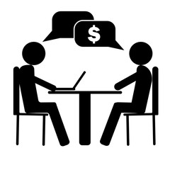 Vector image two people talking about business and work sitting at the table. One person working with laptop.