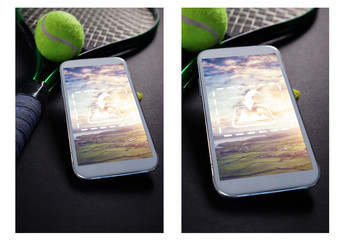Mobile Phone with Tennis Equipment Mockup 1