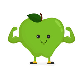 Cute happy strong smiling apple show muscle biceps.