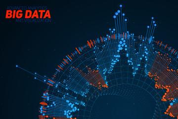 Fotoväggar - Big data circular visualization. Futuristic infographic. Information aesthetic design. Visual data complexity. Complex data threads graphic. Social network representation. Abstract graph