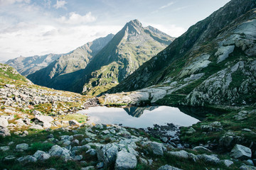 Mountains of Switzerland - Alpine Mountain Peaks and Their Reflection in Lake