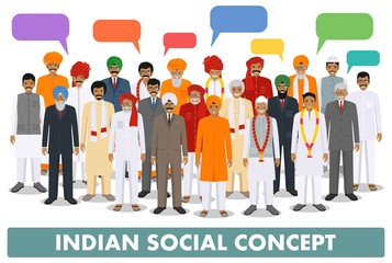 Family and social concept. Group young and senior indian people and speech bubbles standing together in different traditional clothes on white background in flat style. Vector illustration.