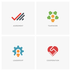Teamwork logo set. Palm with checkmark, head with colleagues and gear wheel symbol, two hands make a deal and heart shape - business contract, cooperation, handshake and partnership icons.