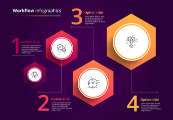 4 Step Hexagonal Infographic Layout