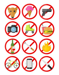 Vector prohibitory signs icons set no