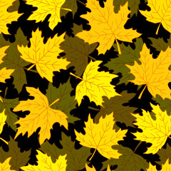 Beautiful seamless doodle pattern with yellow maple leaves sketch. design background greeting cards and invitations to the wedding, birthday, mother s day and other seasonal autumn holidays