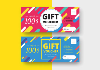 Multicolored Gift Voucher Layout in 2 Color Schemes