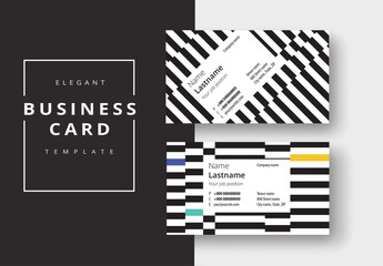 Business Card Layout with Black and White Stripes