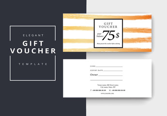 Gift Voucher Layout with Golden Brush Strokes