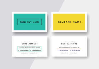 Modern Business Card Layout Set in Two Colors