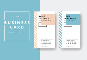 Vertical Business Card Layout with Striped Sidebar