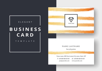 Business Card Layout with Golden Brush Strokes