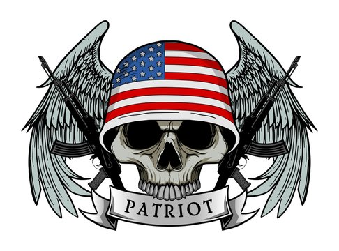 Military skull or patriot skull with AMERICA flag Helmet and Wings Background and ak47 Gun