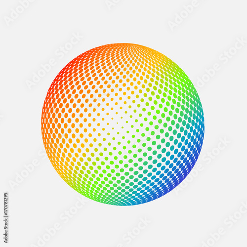 Abstract globe dotted sphere  3d halftone effect vector background