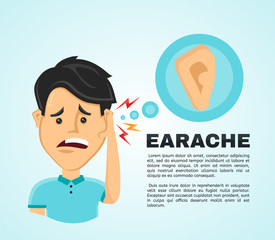 Vector illustration flat man with a earache.