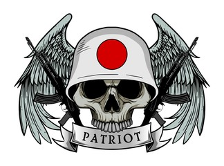 Military skull or patriot skull with JAPAN flag Helmet and Wings Background and ak47 Gun