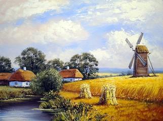Beautiful  landscape. Windmill. Village. Oil  paintings.