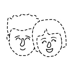 dotted shape avatar couple head with hairstyle design vector illustration