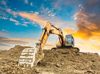 excavator in construction site Wall mural