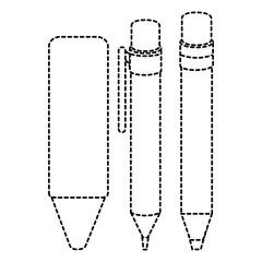pen school with pencil and crayon vector illustration design