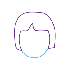 line avatar woman head with hairstyle design vector illustration