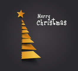 Merry Christmas ribbon paper. christmas tree, design, vector illustration. Creative Christmas tree. Merry christmas greeting card.