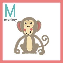 Illustration drawing style alphabet wildlife