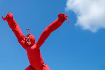 Inflatable Wacky Waving Dancing Tube Man against blue sky