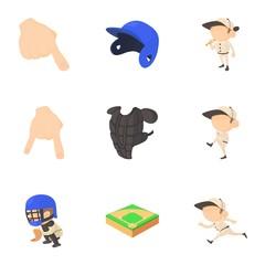 Baseball game icons set, cartoon style