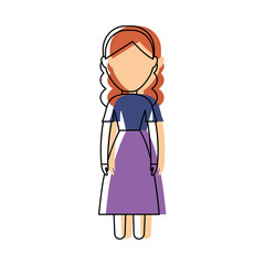 avatar woman with swiss dress icon over white background colorful design vector illustration
