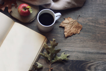 Fall still life with apple, open book, blanket and leaves over rustic wooden background, horizontal