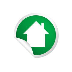 runder Sticker grün - Hütte