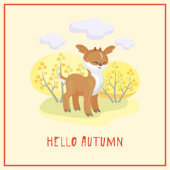 Hello autumn. Greeting card with the image of cute forest animal and trees in cartoon style. Children's illustration.