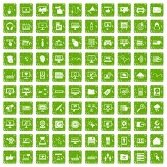 100 computer icons set grunge green
