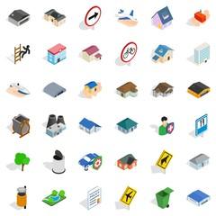 Suburb icons set, isometric style