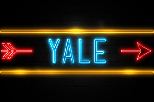 Yale  - fluorescent Neon Sign on brickwall Front view